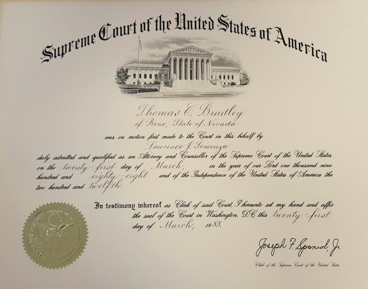 Thomas C. Bradley admission to stand before the U.S. Supreme Court